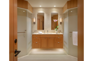 twin showers with shower doors
